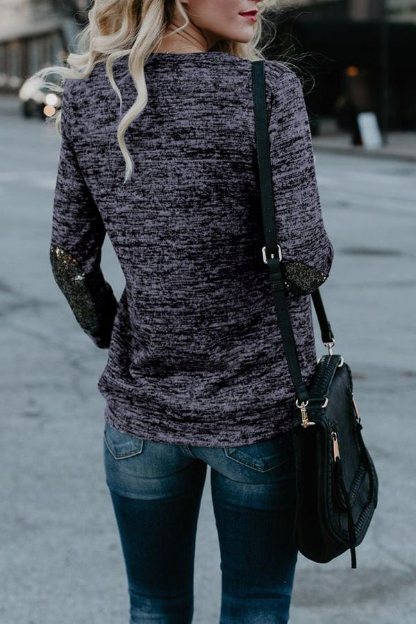Sequins Solid Color Casual Top