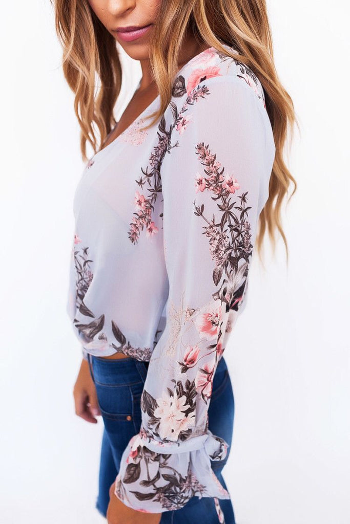 V-neck Flower Printed Casual Top