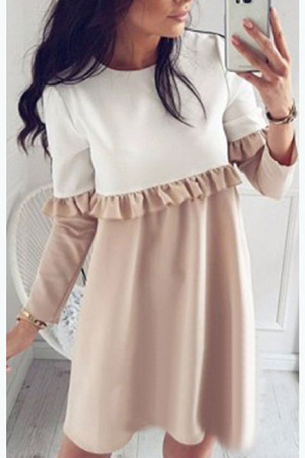 Mixed Color Long Sleeve Casual Dress