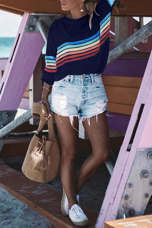 Rainbow Stripe Round Neck Long Sleeve Top