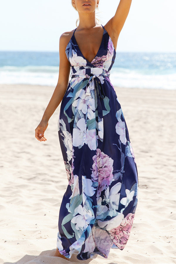 Sleeveless Flower Printed High Waist Beach Dress