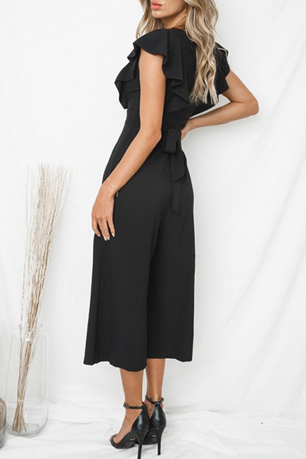 Deep V-Neck Ruffle Belted Wide Leg Casual Jumpsuit