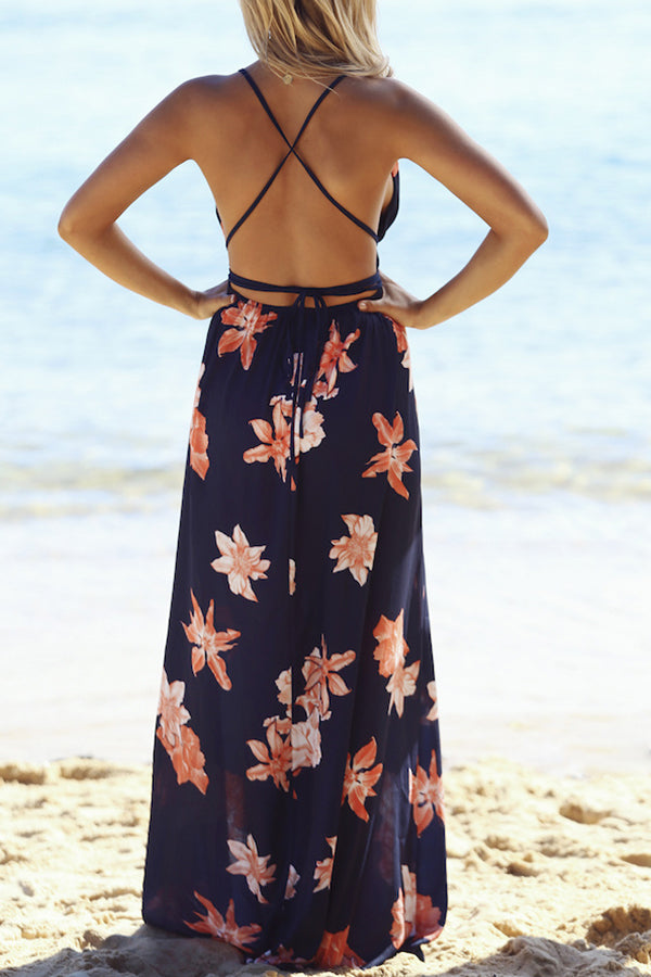 V-neck Flower Printed High Waist Beach Dress
