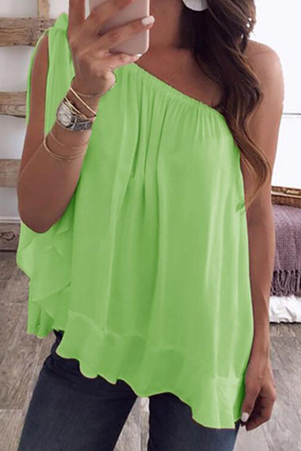 Plus Size Skew Neck Knot Solid Color Chiffon Blouse