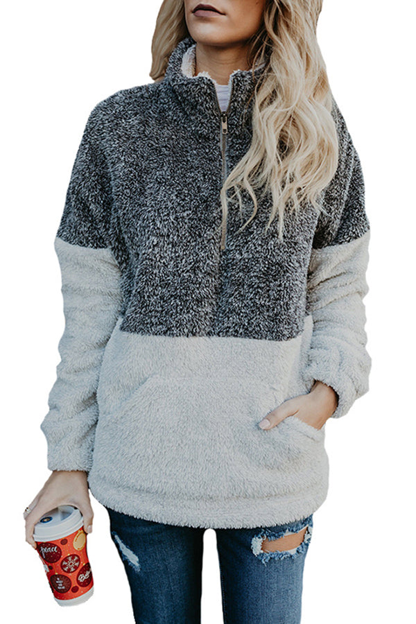 Fluffy Zipper High Neck Color Block Sweatshirt