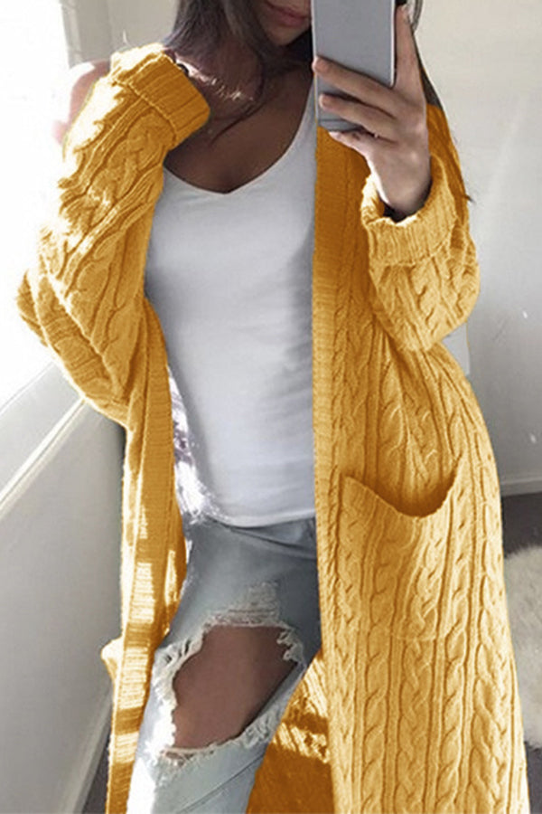 Pocket Solid Color Knitted Sweater Cardigan