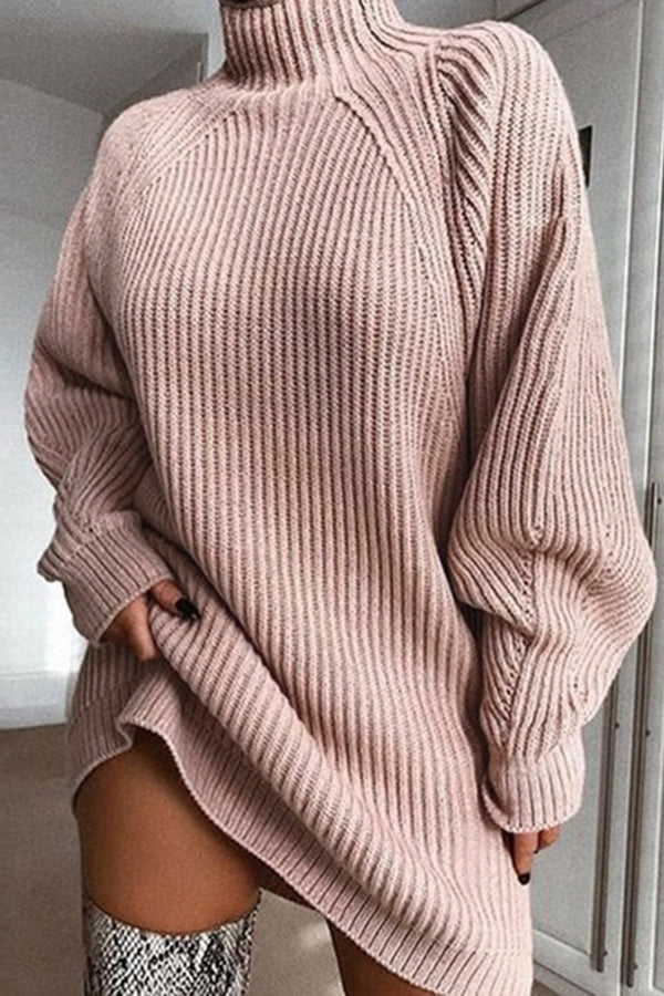 Knitted High Neck Solid Color Sweater