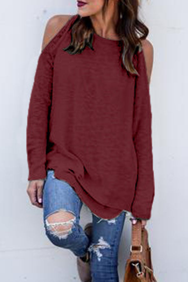 Faux Two Pieces Off the Shoulder Solid Color Top