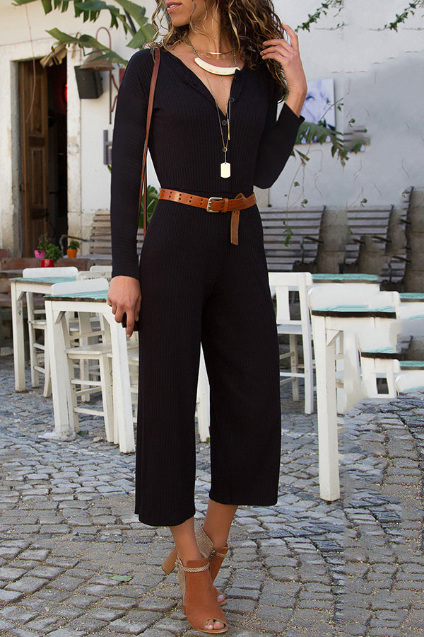 V-Neck Button Solid Color Wide Leg Jumpsuit