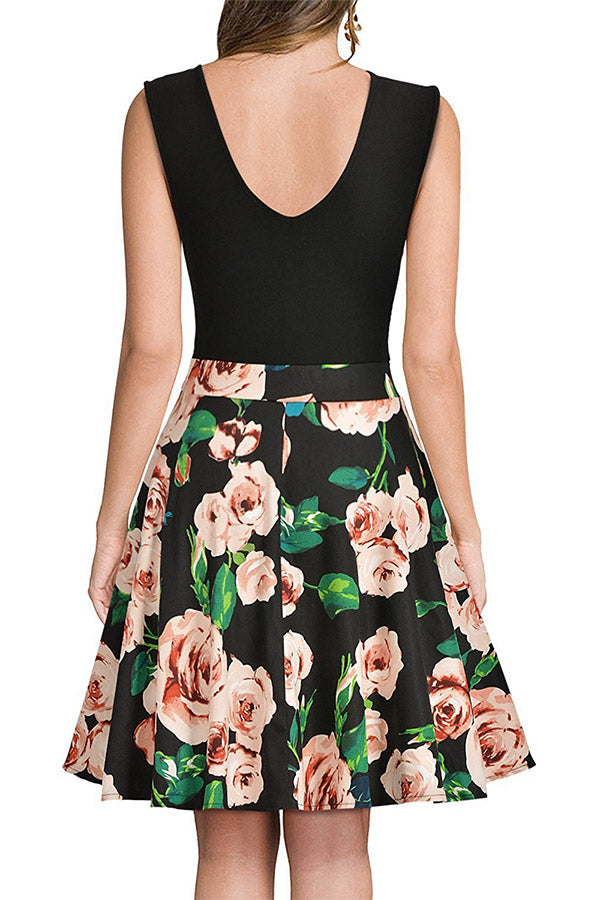 Sleeveless V Neck Printed Dress