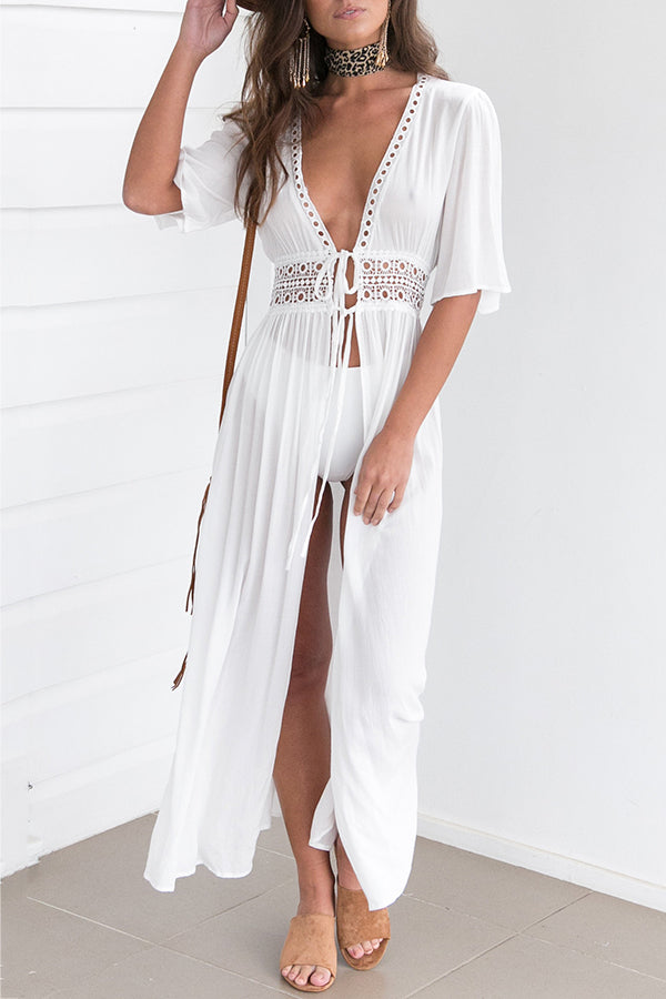 Half Sleeve Net Yarn Bandage Holiday Beach Cover Up