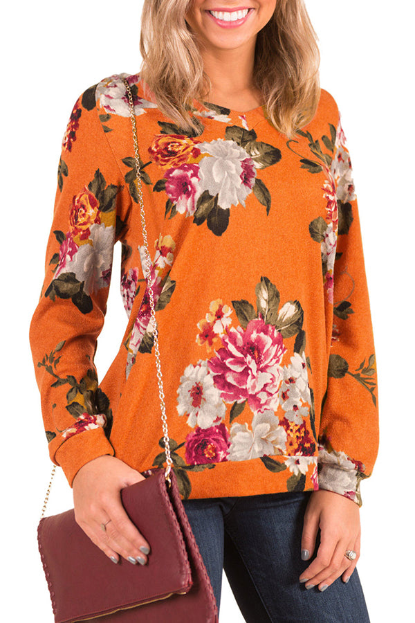 Flower Printed Back Hollow Casual Top