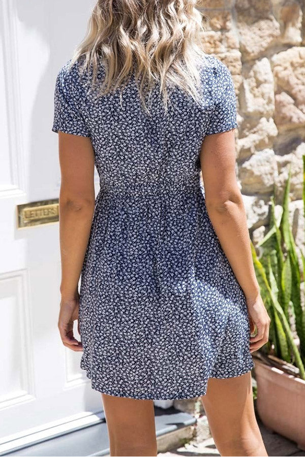 Short Sleeve V Neck Button Printed Dress