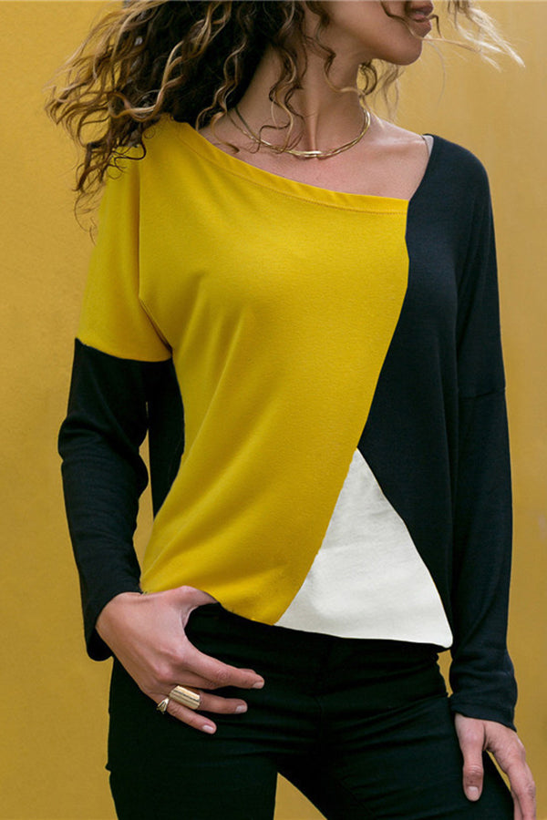 Splice Color Long Sleeve Contracted Style Blouse