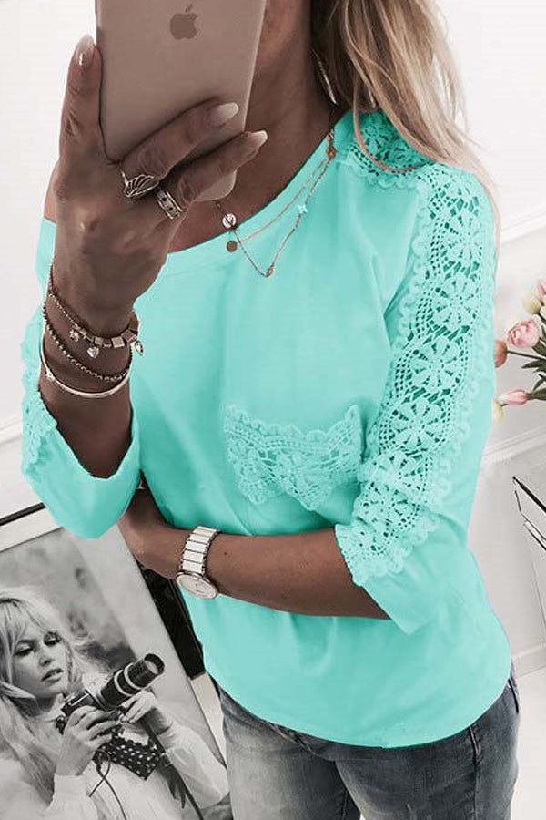 Solid Color Lace Long Sleeve Casual Top