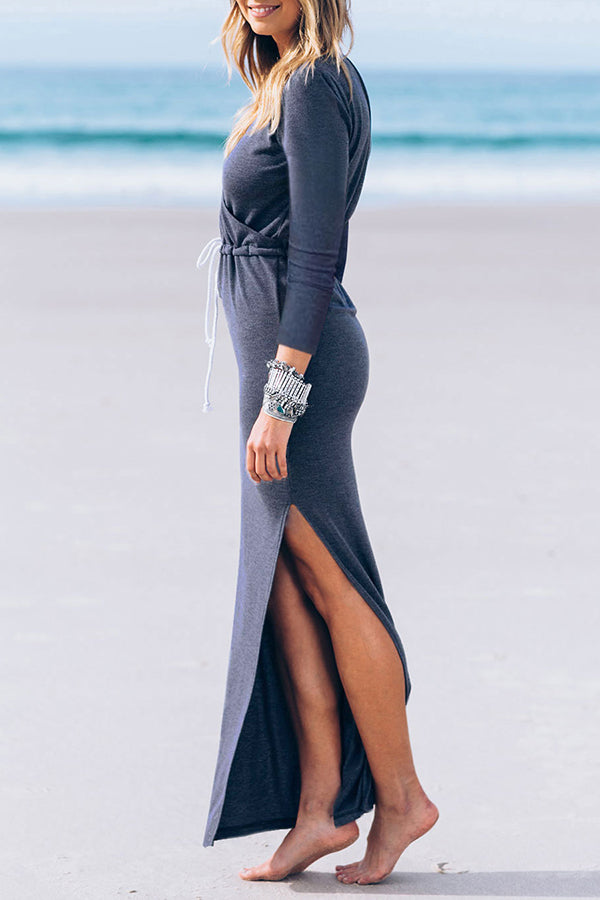 V-neck High Waist Long Sleeve Casual Bodycon Dresses