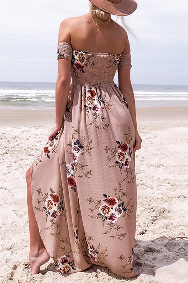 Off the Shoulder Flower Printed Beach Dress