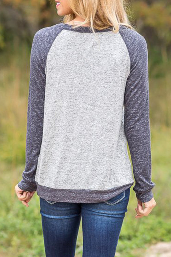 Pocket Mixed Color Long Sleeve Casual Top