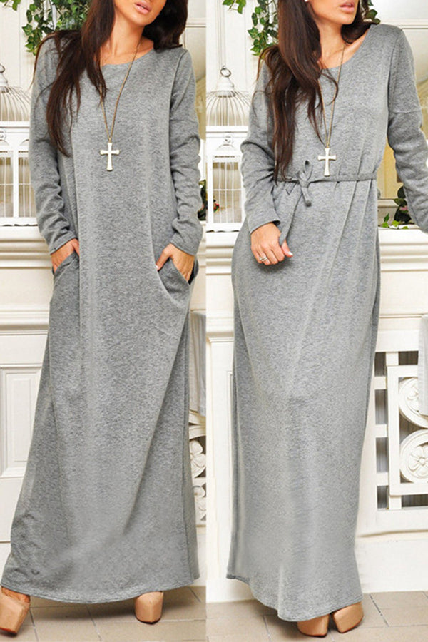 Pocket Solid Color Casual Long Sleeve Dress