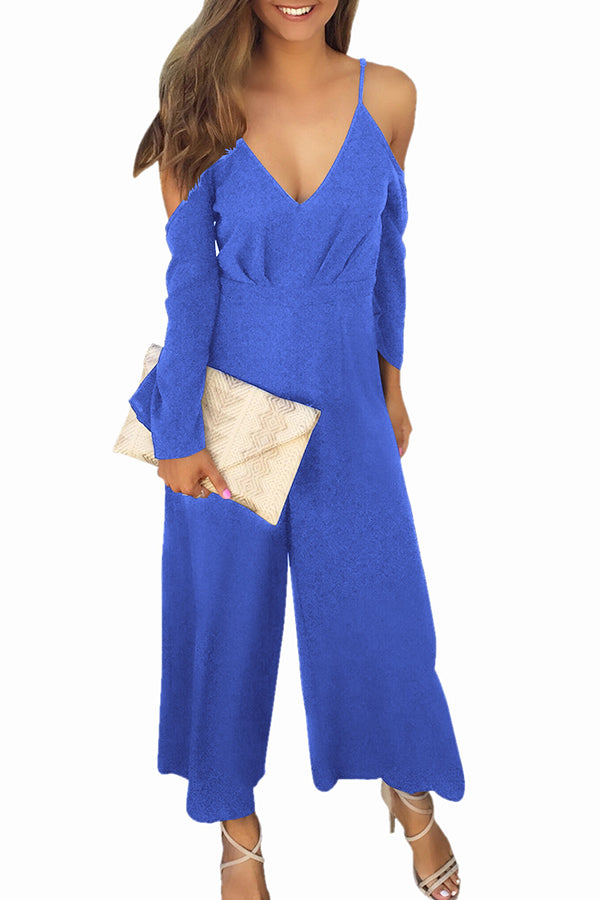 V-neck Easy Solid Color Casual Jumpsuit