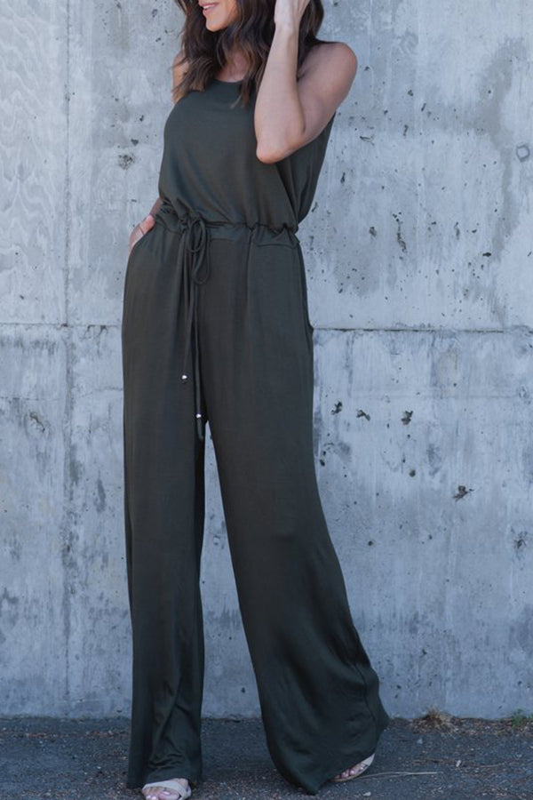 High Waist Pocket Solid Color Casual Jumpsuit