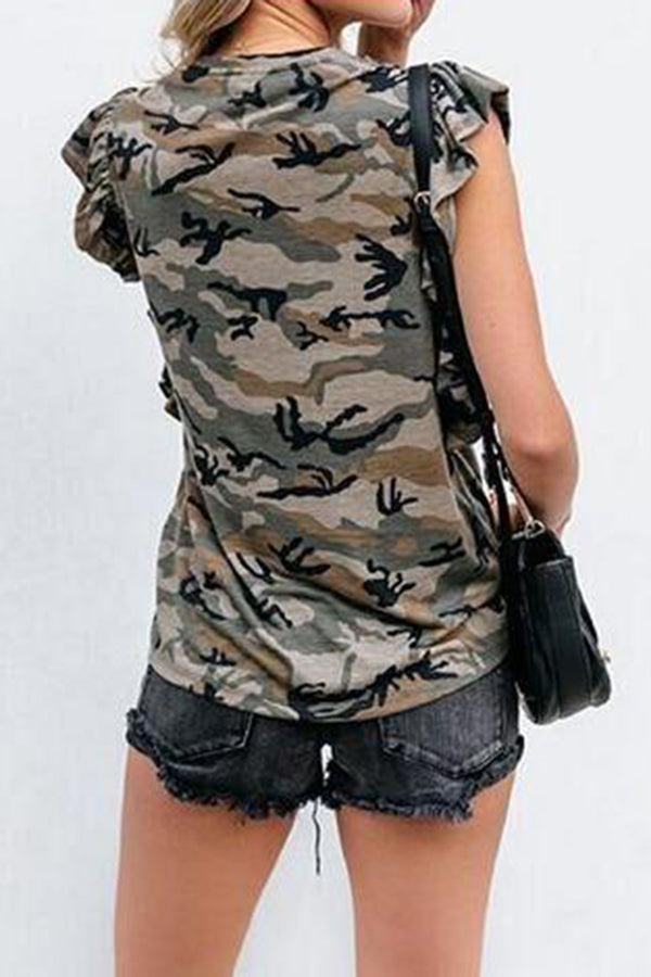 Camouflage Pocket Ruffle Sleeveless Top