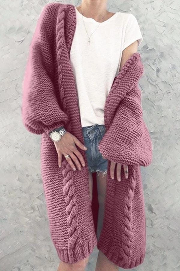 Knitted Solid Color Lantern Sleeve Cardigan