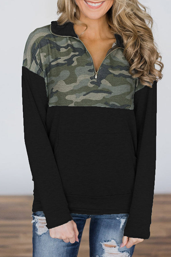 Camouflage Patchwork Patterned Panel Sweater