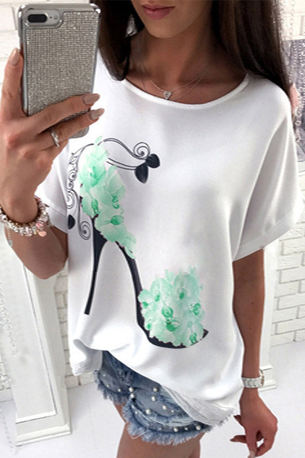 Solid Color Short Sleeve Printed Top