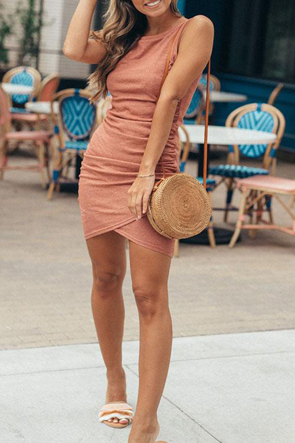 Round Neck Ruched Sheath Sleeveless Bodycon Dress