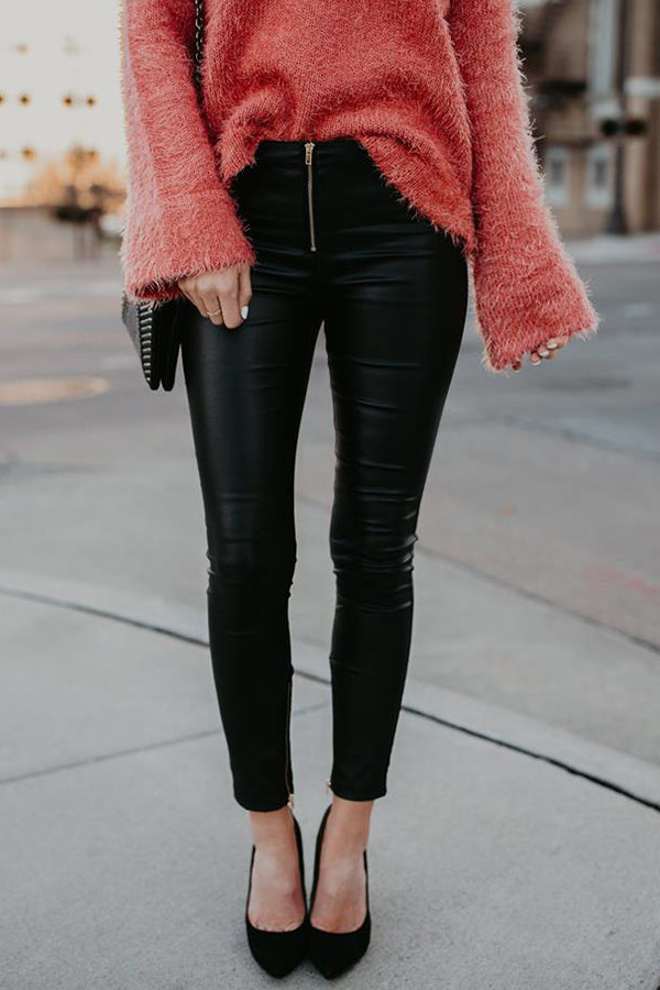 Zipper Solid Color Sexy Leather Pant
