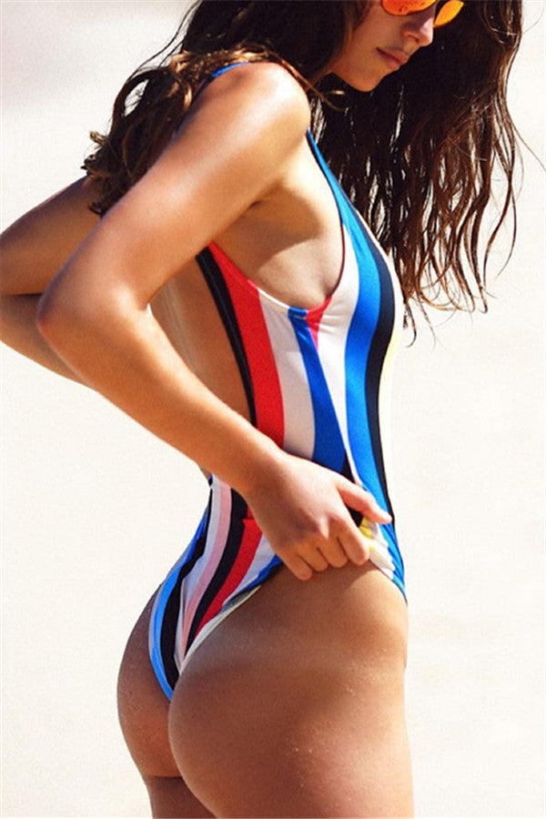 Multicolor Striped One Pieces & Monokinis