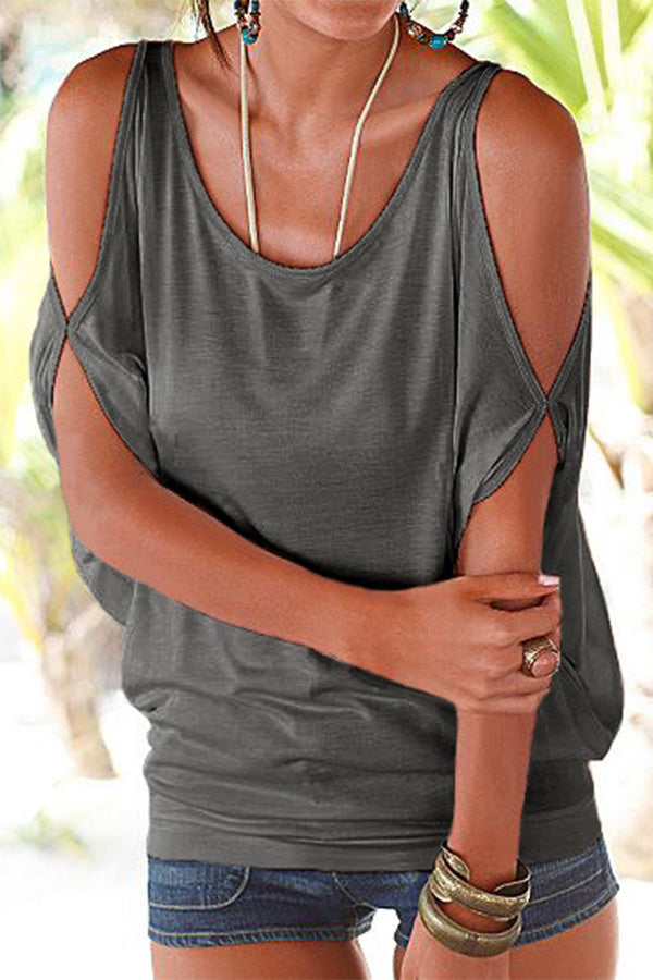 Cold Shoulder Solid Color Casual Blouse