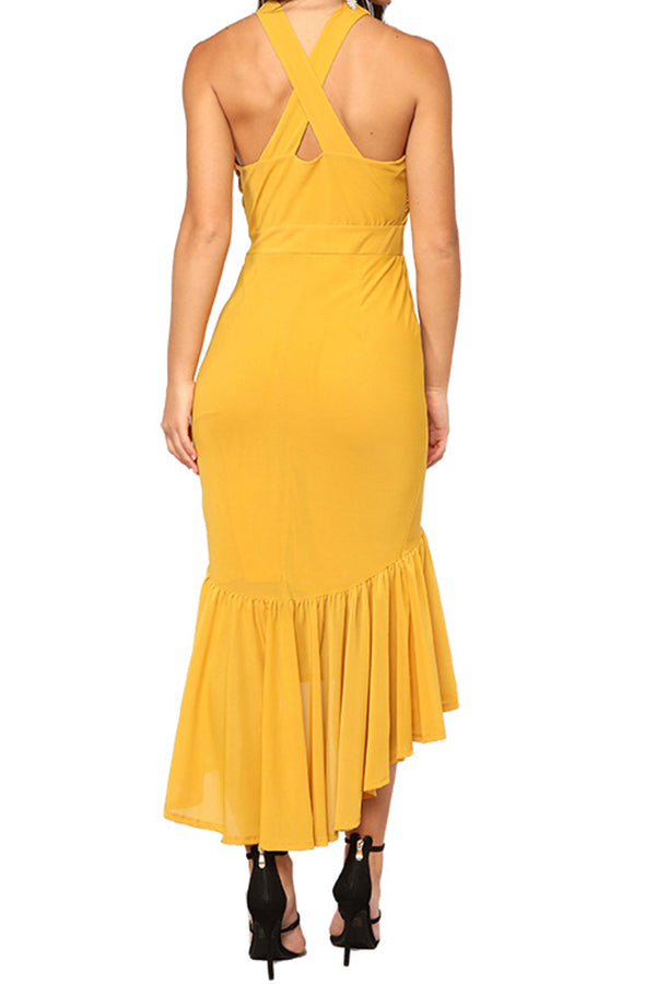 Solid Color Halter Ruffle Open Back Dress