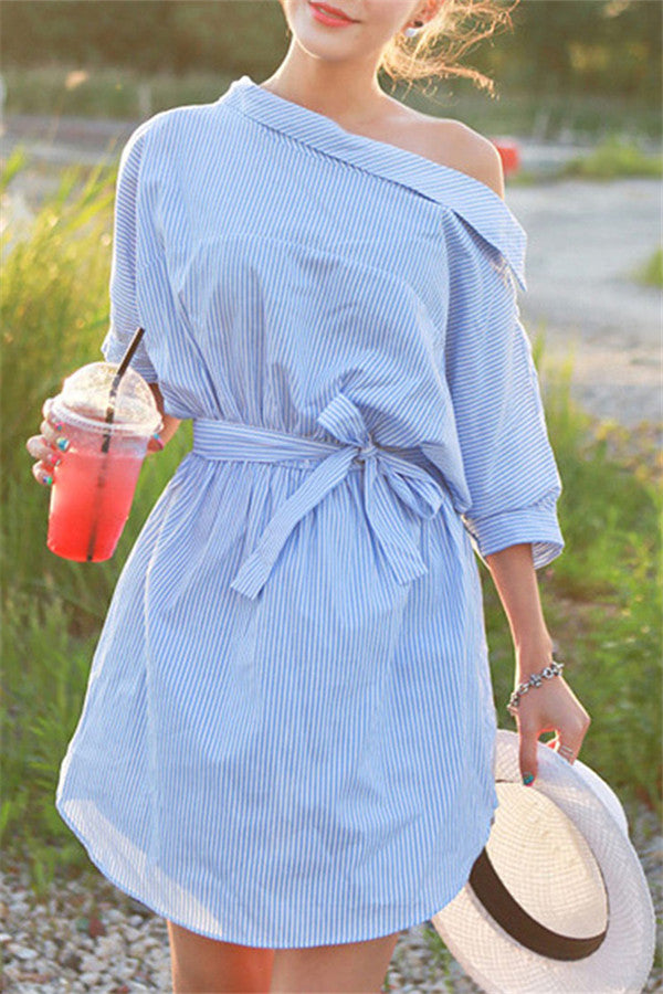 Off One Shoulder Striped Lace Up Blouse Dress