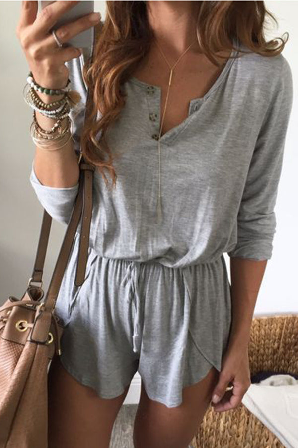 Solid Color Button Belted Casual Romper