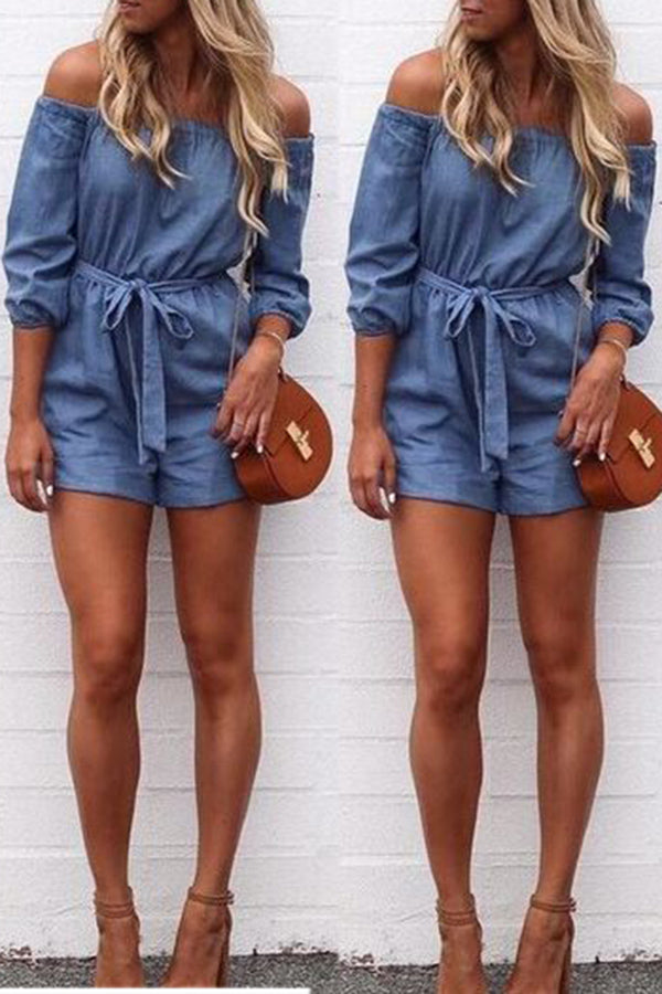 Off The Shoulder Denim Romper With Belt