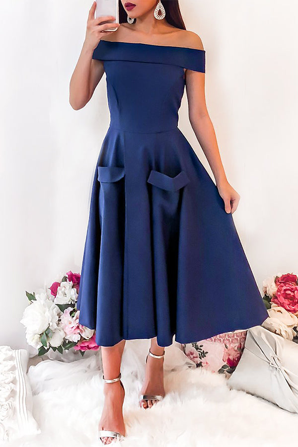 Off The Shoulder Pocket High Waist Party Skater Dress
