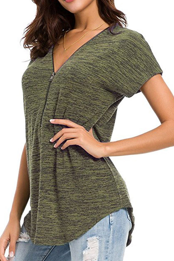 V-Neck Natural Colored Cotton Zipper Short Sleeve Shirt
