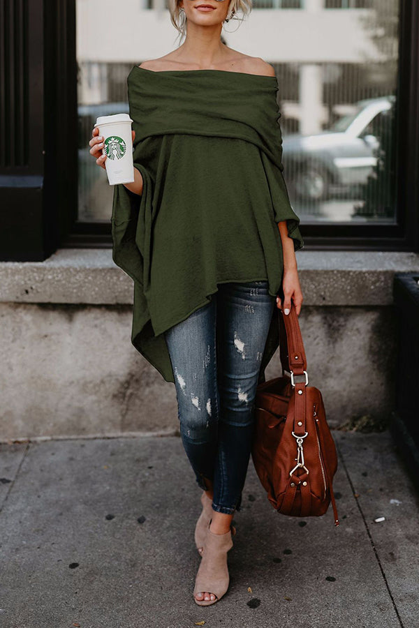 Irregular Hem Off The Shoulder Solid Color Cloak Blouse