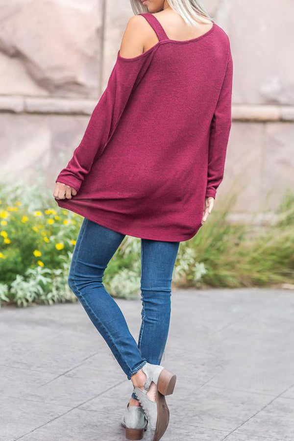 Casual Solid Color Cold Shoulder Top