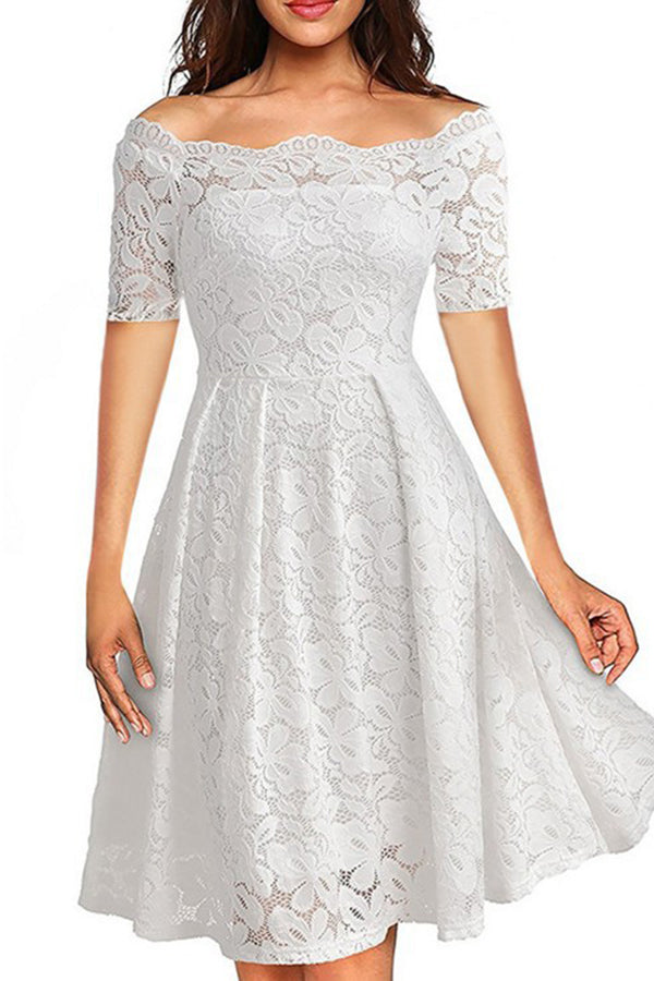 Scalloped Neckline Lace Short Sleeve Solid Color Party Dress