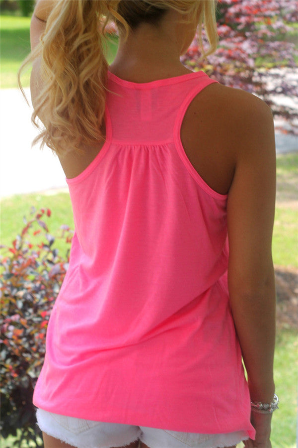 9dde82f814 Letter Print Round Neck Neon Pink Tank Top – monishe