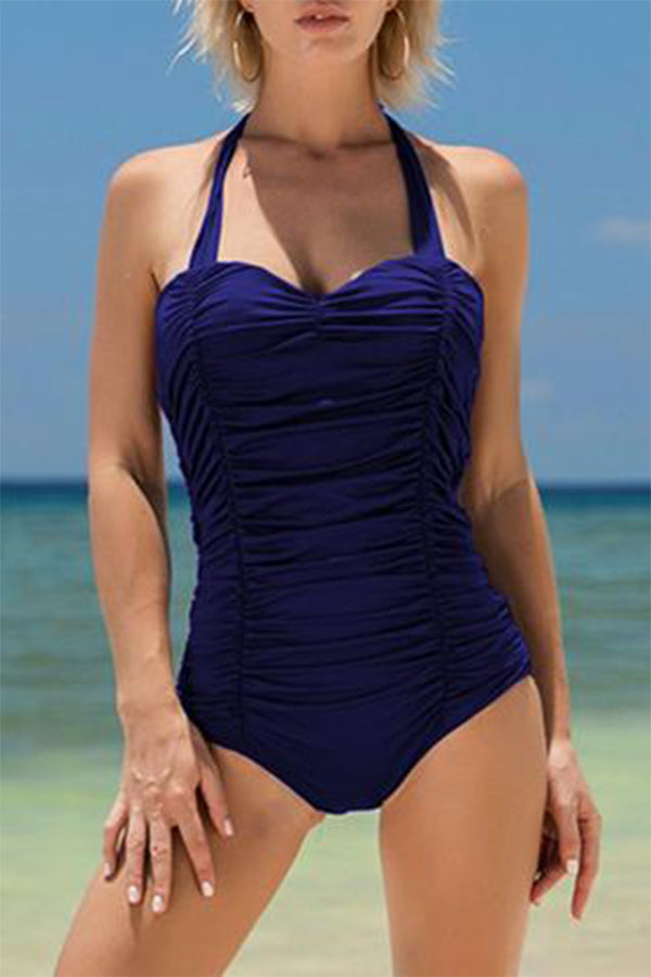 Plus Size Fold Design Solid Color Halter One Piece Swimwear