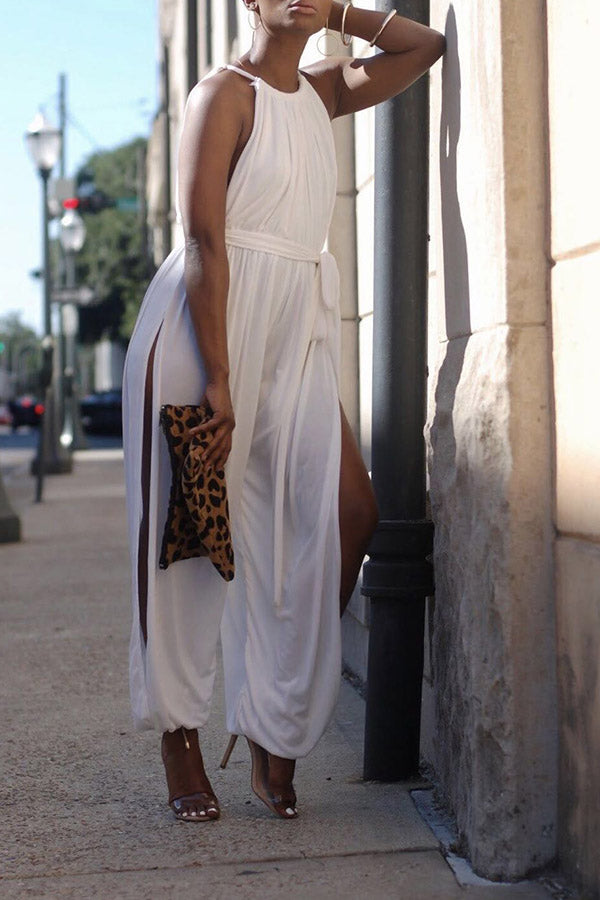 Sleeveless Solid Color Halter Slit Jumpsuit