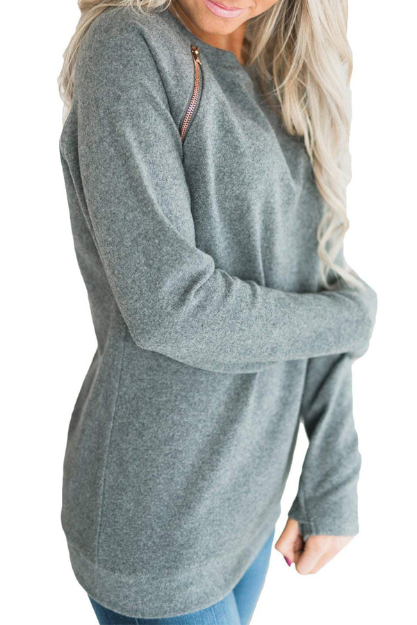 Casual Round Neck Long Sleeve Sweatshirt