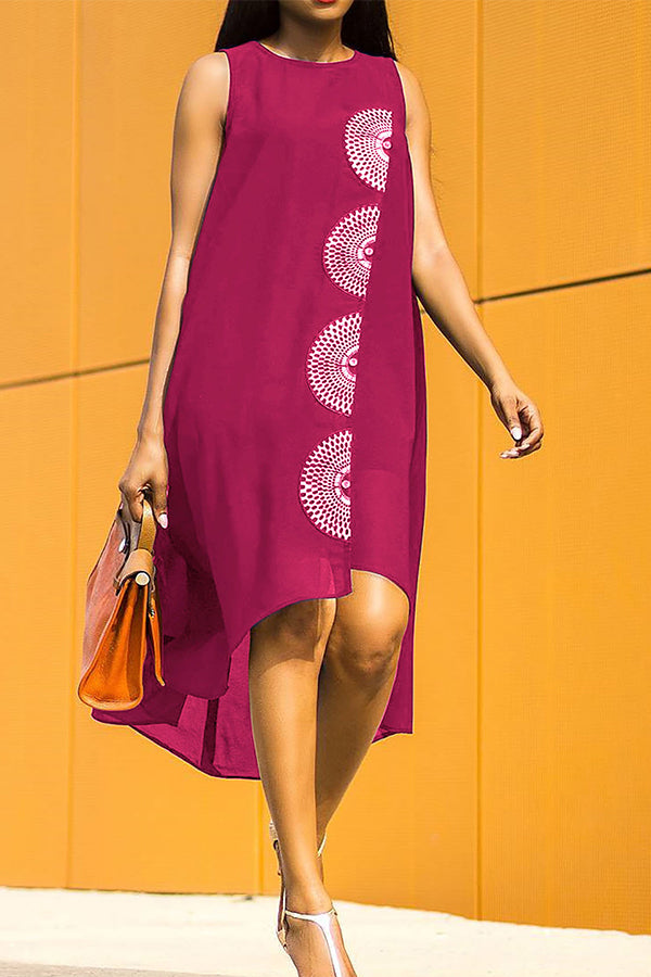 Solid Color Printed Sleeveless Asymmetric Dress