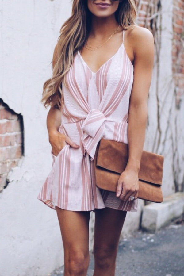 Linen Sleeveless Stripe Belted Pocket Casual Romper