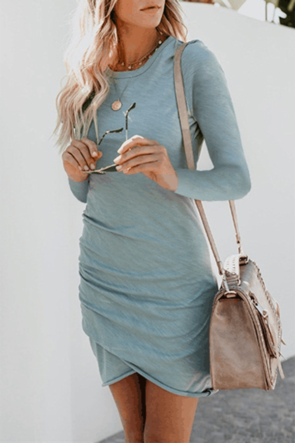 Solid Color Irregular Hem Long Sleeve Sheath T-shirt Dress