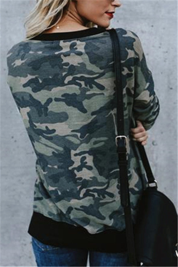 Round Neck Camouflage Sweater